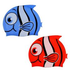 Kids Children Fish Pattern Silicone Swim Cap Bathing Hat Swimming Cap