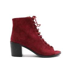 Womens Zip Lace Cut Out Summer Peep Open Toe Ankle Boots in Red Bordeaux 3-8