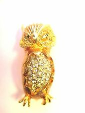 Vintage Gold Tone and Crystals Fabulous Owl Pin