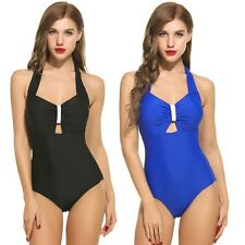 Women Sexy Halter Padded Hollow Out One Piece Backless Swimsuit Bathing Swimwear
