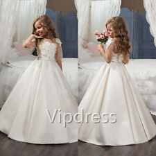 Flower Girl Dresses Lace Appliques Flowers Beading Pageant Princess Prom Gowns