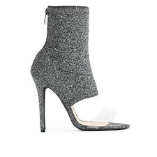 Womens Zip Stiletto Sock Fit Perspex Clear Strap Ankle Boots In Grey Shimmer 3-8