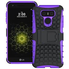For LG G6 Tough Hybrid Armor Shockproof Protector Box Kickstand Hard Case Purple
