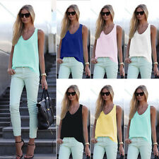 New Fashion Womens Ladies Vest Sleeveless Shirt Blouse Summer Casual Loose Tops