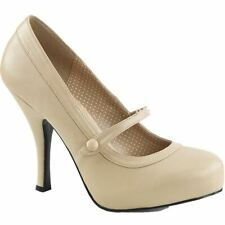 Pleaser PINUP-01 Hidden Platform Mary Jane Pump Cream Size 9-16 Retro Rockabilly