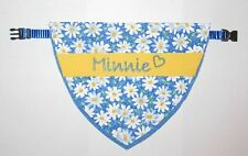 Dog (Cat) SPRING DAISIES  Bandana w/Collar, Personalized Pet's Name/ID XS -XXL