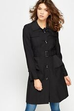 LADIES BLACK STYLE LONG SINGLE BREASTED MAC JACKET  BELTED TRENCH COAT SIZE 6 8