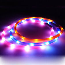 USB Rechargeable LED Flashing Light Band Glow Safety Belt Pet Dog Collar Perfect