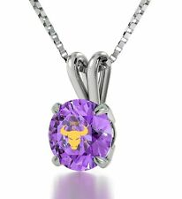 Taurus Pendant Necklace Zodiac Charm Purple Crystal 925 Sterling Silver Gift
