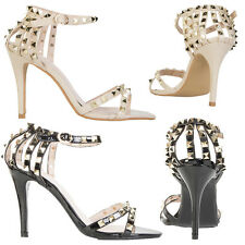 Womens Ladies Studded Court High Heels Ankle Strap Studded Back Shoes Size