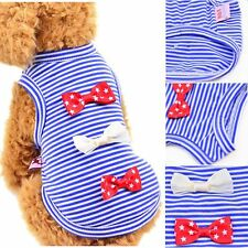 Small Pet Doggy Bow Shirts Clothes Puppy Dog Cat Stripe Vest T Shirt Top Apparel