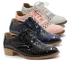 WOMENS OXFORDS BROGUES FAUX LEATHER SHOES SUMMER CUT OUT LOW HEEL LOAFERS SIZE