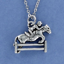 Jumping Horse Necklace - Pewter Charm on Cable Chain Equestrian Dressage NEW