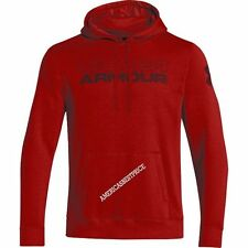 UNDER ARMOUR UA NEW MENS RIVAL UNDISPUTED PULLOVER HOODIE SWEATSHIRT NWT RED
