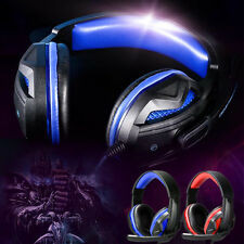 USB 3.5mm Wired LED Over-Ear Super Bass Gaming Headphone w/ MIC For PC