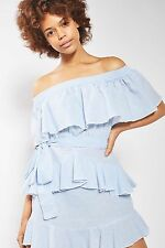 TOPSHOP *Light Blue Stripe Frill Bardot Dress* NEW_UK6_8_10_12_14_16