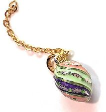 NEW Joan Rivers Enamel Egg Charm Faberge Crystal Charm Green Pink Purple Pointed