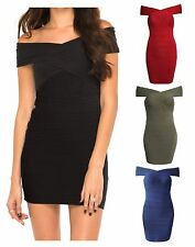Womens Ladies Bandage Cocktail Sleeveless Party Dress Ribbed Bodycon Top