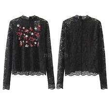 Women's Lace Sheer Long Sleeve Floral Embroidery T-Shirt Elegant Blouse Top I8R8