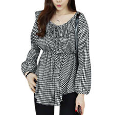 Women Scoop Neck Flouncing Upper Elastic Waist Plaids Tunic Shirt