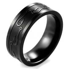 8MM Men Women Stainless Steel Wedding Band Ring W/Carve Hook Up Pattern Size7-13