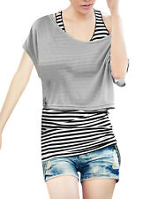 Women Short Sleeves Loose Tops w Stretchy Stripes Vest