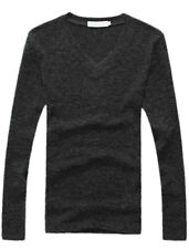 Man V Neck Long Sleeve Stretchy Pullover Knitted Shirt