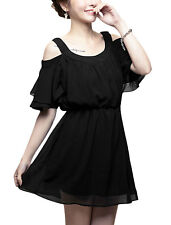 Lady Layered Flouncing Sleeve Cut Out Shoulder Fully Lined Chiffon Dress