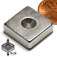 """CMS Magnetics® N42 Neodymium Magnets 3/4""""x 3/4""""x 1/4"""" with a #8 Countersunk Hole"""