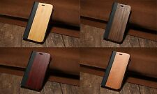 iPhone 8 7 6 6s Plus Real Wooden Flip Case Natural Wood + PU Leather Stand Cover