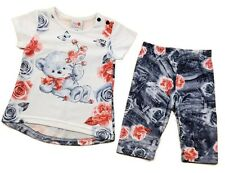 baby/toddler girls Teddy and roses top and leggings set - 6/12-12/18-18/24 month