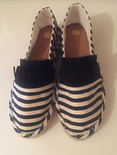 NEW Ex River Island Black White Stripe Frill Front Plimsolls Pumps Size 3-8 UK