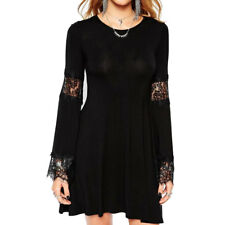 Women Crew Neck Long Bell Sleeves Lace Panel Unlined Tunic Dress