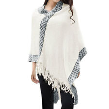 Women Batwing Sleeves Argyle Detail Sequined Tassels Hem Sweater Coat