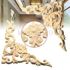 2/4pcs 20x15cm Wood Oak Carved Corner Furniture Onlay Applique Unpainted Decor