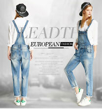 Womens Girls Overalls Long Denim Jean Pants Straps Jumpsuit Rompers Trousers