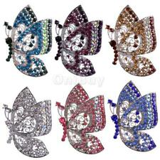 Luxury Full Colorful Rhinestone Butterfly Shape Insect Silver Plated Brooch Pin