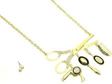 Hair Stylist Necklace & Earrings Crystal Scissors Blow Dryer Comb  Brush Charms