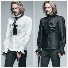 Devil Fashion Mens Gothic Vampire Victorian Shirt Top Blouse With Removable Tie