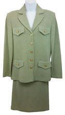 NWT ST. JOHN COLLECTION SAGE GREEN KNIT SKIRT SUIT 6