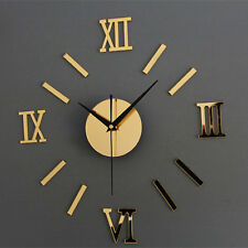 Mirror DIY Clocks Roman Numerals Wall Clock Novelty Gift Watches Home Decor Gold
