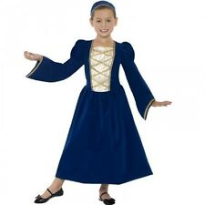 Girls Tudor Fancy Dress Up Costume Medieval Princess Queen Kids Child's Outfit