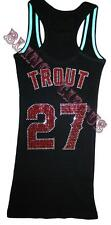 Angels Bling Womens Mike Trout Sparkle Anaheim Jersey Tank Top T Shirt Fast SHIP