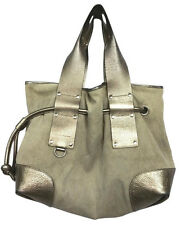 ANDREA MABIANI Made In Italy Leather Trim Drawstring Woven Tote Bag