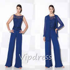 Plus Size Chiffon Royal Blue Mother Of The Bride Dresses Long Sleeve Jackets New