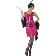 1920s Pink Fringed Flapper Fancy Dress Up Costume Ladies Adult Charleston Outfit