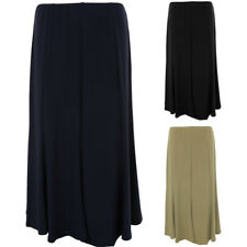 Women's Plain Lined Stretch Elasticated Waist Smart Casual Flare Gypsy Skirt
