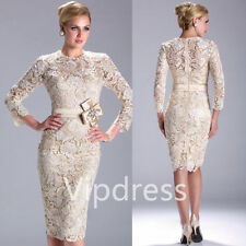 Mother Of The Bride Dresses 3/4 Sleeve Lace Appliques Prom Party Evening Gowns