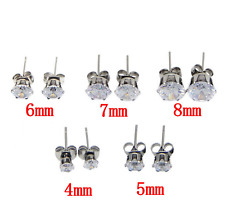 925 SILVER PLATED CUBIC ZIRCONIA CZ STUD EARRINGS ROUND CLEAR VARY SIZES