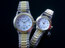 Ladies Watches Stretch Round Dial Two Tone Stretch Expander Band Watch 3 Sizes
